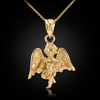 Solid Yellow Gold Guardian Angel Pendant Necklace