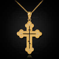 Gold Russian Eastern Orthodox Diamond Cross Pendant Necklace