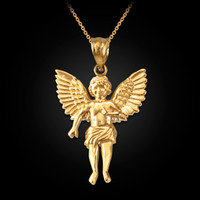 Yellow Gold Cherub Guardian Angel Pendant Necklace (L)