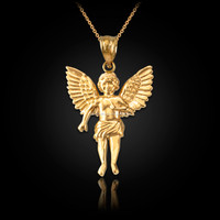 Yellow Gold Cherub Guardian Angel Pendant Necklace (S)