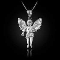 White Gold Cherub Guardian Angel Pendant Necklace (S)