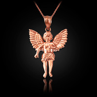 Rose Gold Cherub Guardian Angel Pendant Necklace (S)