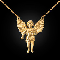14K Yellow Gold Cherub Guardian Angel Necklace (L)