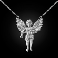 14K White Gold Cherub Guardian Angel Necklace (L)