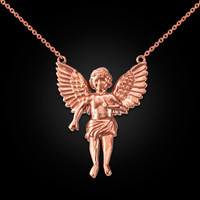 14K Rose Gold Cherub Guardian Angel Necklace (L)