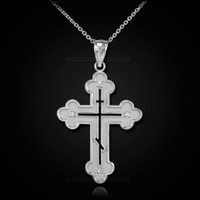 White Gold Russian Eastern Orthodox Diamond Cross Pendant Necklace