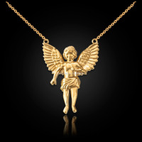 14K Yellow Gold Cherub Guardian Angel Necklace (S)