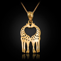 Yellow Gold Open Heart Kissing Giraffes Charm Necklace
