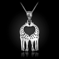 White Gold Open Heart Kissing Giraffes Charm Necklace