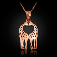 Rose Gold Open Heart Kissing Giraffes Charm Necklace