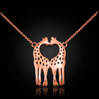 14K Rose Gold Open Heart Kissing Giraffes Necklace