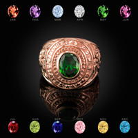 Rose Gold US Marines USMC Birthstone Mens Ring