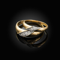 Diamond Wedding Ring Band Duo Set in Yellow Gold