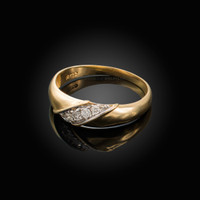 6MM Mens Diamond Wedding Band in Yellow Gold