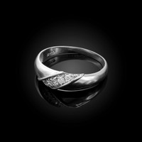 6MM Mens Diamond Wedding Band in White Gold