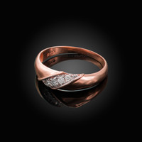 6MM Mens Diamond Wedding Band in Rose Gold
