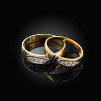 Diamond Wedding Ring Band Set in Yellow Gold