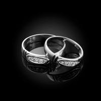 Diamond Wedding Ring Band Set in White Gold