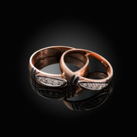 Diamond Wedding Ring Band Set in Rose Gold