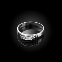 5MM Mens Diamond Wedding Band in White Gold