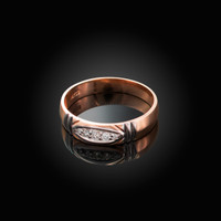 5MM Mens Diamond Wedding Band in Rose Gold