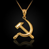 Yellow Gold Hammer and Sickle Pendant Necklace