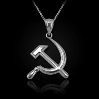 White Gold Hammer and Sickle Pendant Necklace