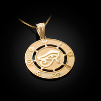 Yellow Gold Eye of Horus Good Luck Amulet Pendant Necklace