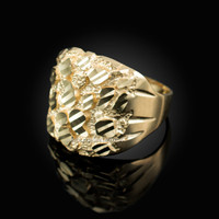 Yellow Gold Sparkle Cut Nugget Ring
