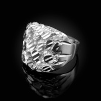 White Gold Sparkle Cut Nugget Ring