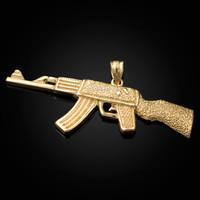 Yellow Gold AK-47 Rifle Gun Pendant