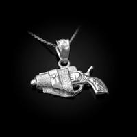 White Gold Revolver Gun in Holster Charm Necklace