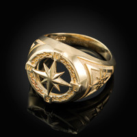Mens Yellow Gold Compass Ring