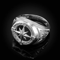 Mens White Gold Compass Ring