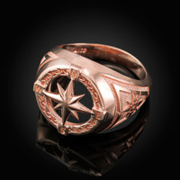 Mens Rose Gold Compass Ring