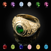 2019 High School Class Graduation CZ Gold Birthstone Ring