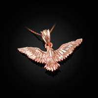 Rose Gold Falcon Eagle DC Pendant Necklace