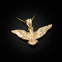 Yellow Gold Falcon Eagle DC Pendant Necklace