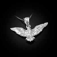 White Gold Falcon Eagle DC Pendant Necklace
