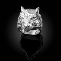 Mens Sparkle-Cut White Gold Tiger Head Ring