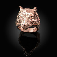Mens Sparkle-Cut Rose Gold Tiger Head Ring