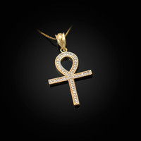 Diamond Yellow Gold Egyptian Ankh Cross Pendant Necklace