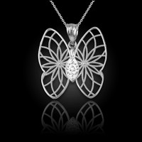 White Gold Filigree Butterfly Diamond Pendant Necklace