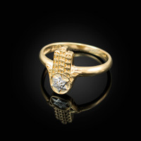Yellow Gold Hamsa Star of David Diamond Ring
