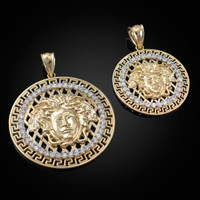 Yellow Gold Medusa CZ Medallion Pendant (S/L)