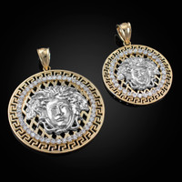 Two-Tone Yellow Gold Medusa CZ Medallion Pendant (S/L)
