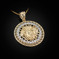 Yellow Gold Medusa CZ Medallion Pendant Necklace