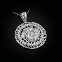 White Gold Medusa CZ Medallion Pendant Necklace