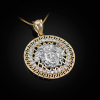 Two-Tone Yellow Gold Medusa CZ Medallion Pendant Necklace