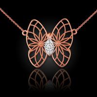 14K Rose Gold Filigree Butterfly Diamond Necklace